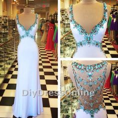 Sheath spaghetti strap white jersey with beaded prom dress 2015 evening gown apd1506