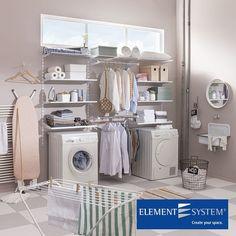 Element System ES32 –järjestelmän lanka- ja teräshyllyt sopivat useisiin käyttötarkoituksiin. Kuvan kokonaisuus on toimiva ratkaisu kodin pyykkihuollon lisäksi myös pukeutumishuoneeseen. #elementsystem #ES32 #kylpyhuone #vaatehuone #vessa #säilytys #koti #toimisto #sisustus #sisustussuunnittelu #arkkitehti #tilasuunnittelu #tila #interior #interiordesign #helakeskus #tukkumyynti #yritysmyynti