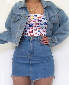 fashion in the Strapless crop top bandeau butterflies print outfit cute blue double denim fashion style egirl stylish inspo inspired Cute Casual Outfits, Girly Outfits, Mode Outfits, Retro Outfits, Stylish Outfits, Vintage Outfits, Teenage Outfits, Teen Fashion Outfits, Daily Fashion