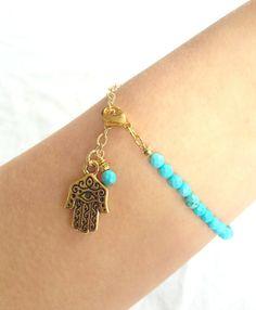 Turquoise Bracelet with Hamsa by AtelierYumi