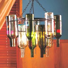 Wine bottle light fixture.