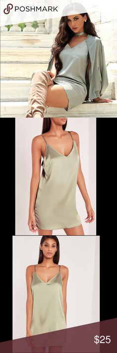 Missguided Carli Bybel Pistachio Satin Dress US 0 carli bybel silky cami dress green. New with tags. US - 0. XS.  🌸 No Trades 🌸 Ships next day unless Sunday 🌸 Make an offer! I accept most reasonable offers! 😊 🌸 Bundle and save on shipping Missguided Dresses Mini