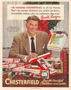 """""""Я рассылаю Честерфильд всем своим друзьям. Счастливейшее Рождество для любого курильщика - это мягкость Честерфильда и отсутствие неприятного послевкусия."""" Рональд Рейган"""