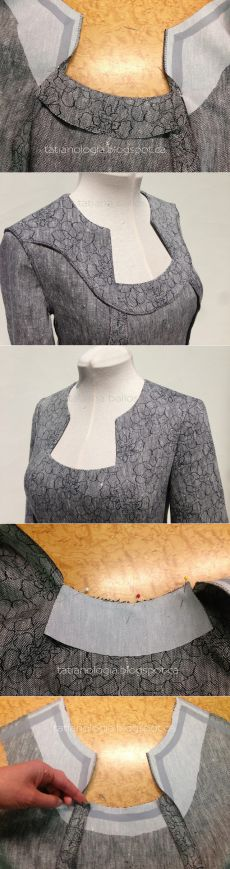 This tutorial is not in English, but it does show how to do the neck of a dress,effectively.