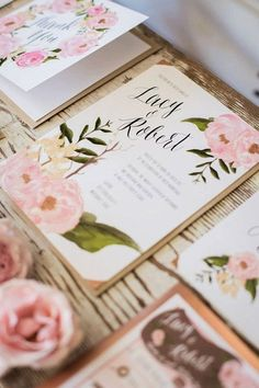 pink floral wedding invitations http://www.itgirlweddings.com/blog/questions-to-ask-selecting-your-wedding-invitations