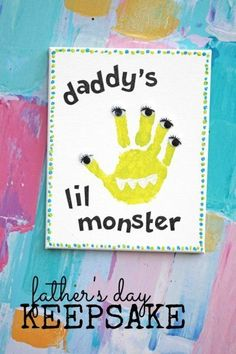 Crafts for Dad Daddy's Lil Monster Handprint Keepsake Darice is part of Baby crafts For Dad - Crafts for dad that are personalized with your child's own handprint will make for a very special keepsake Transform the handprint into a silly monster! Kids Fathers Day Crafts, Fathers Day Art, Dad Crafts, Daycare Crafts, Toddler Crafts, Preschool Crafts, Crafts For Babies, Baby Fathers Day Gift, Felt Crafts