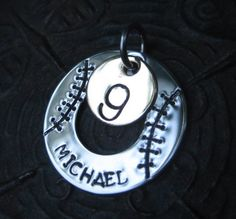 Hand Stamped Jewelry  Baseball Necklace  by AnotherDayBoutique