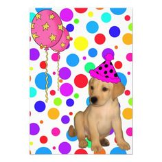 Birthday Party Labrador Puppy Spots Balloons Invitations
