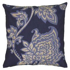 "18"" Printed Throw Pillow - Rizzy Home : Target in navy/ivory"