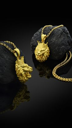Gold Lion King Pendnat Lion Head and Crown Necklace Gold African Jewelry Men's Gold Pendant Gold Men and Women Accessory Gold Leo Accessories Men Style Women's Accessories Gold Perfect Gift for Him Perfect Gift for Her Womens Style Fashion Necklaces Gold Necklace For Men, Mens Gold Jewelry, Men Necklace, Fashion Necklace, Jewelry Necklaces, Bracelet Men, Cameo Jewelry, Pendant Jewelry, Pendant Necklace