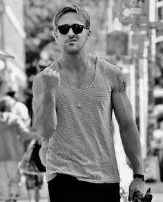 ryan gosling. Wearing an A-shirt loosely. Diiiiig it.