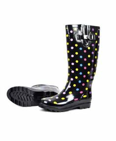 Ladies' Nostalgic Rainbow Polka Dotted Rainboots #Boots #Footwear
