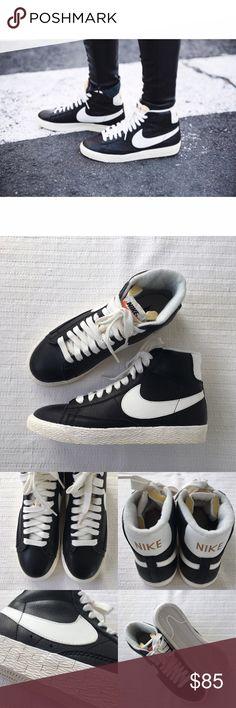 ba43ba00bbda7 Womens Nike Mid Blazer Leather Black Sneakers Womens Nike Mid Blazer  Leather Black Sneakers Style
