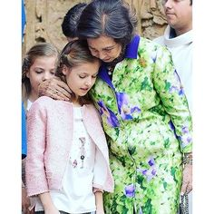 Queen Sofia of Spain with her grand daughter Princess Leonor of Asturias