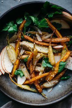 fennel roasted carrot and shallot salad with shaved apple