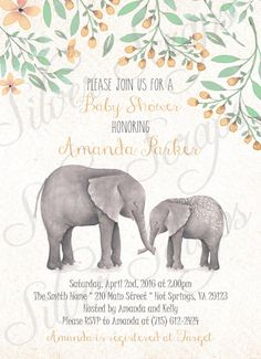 Watercolor Elephants and Flowers Custom Unisex Baby Shower Sprinkle Invitation - Mint Green Peach Orange Grey Gray Floral Mommy Baby Elephant Circus Zoo Carnival Jungle Animal Hand Painted Matching Back Leaves Buds Gender Neutral Unknown Sex Surprise Boy Girl