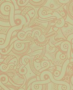 Odyssey : Light Green & Gold Wallpaper