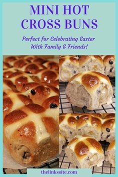 The whole family will love the delicious fruitiness and yummy spices of these Mini Hot Cross Buns. They are so soft and fluffy when fresh from the oven and only 124 calories per bun! thelinkssite.com #hotcrossbuns #Easterrecipe #fruitbuns Easter Recipes, Brunch Recipes, Snack Recipes, Yummy Recipes, Dessert Recipes, Easy Snacks, Yummy Snacks, Delicious Desserts, Yummy Food