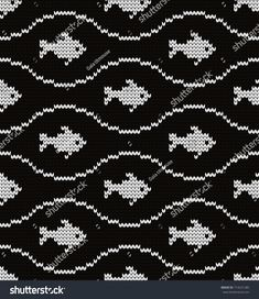 Knitted seamless pattern fishes