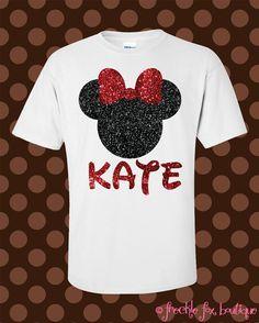 Custom Name Disney Minnie Mouse Mickey Glitter Short Sleeve Tee Shirt ------ i want this shirt 😍 & look it already has my name on it Disney World 2015, Disney 2015, Disney World Vacation, Disney Fun, Disney Style, Disney Vacations, Disney Trips, Disney Cruise, Disney Parties