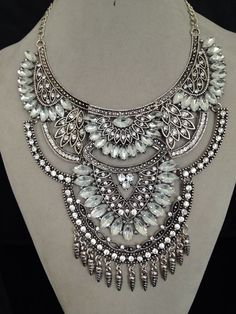 Luxury Vintage Silver Big Pendant Chain Crystal Chunky Statement Necklace New