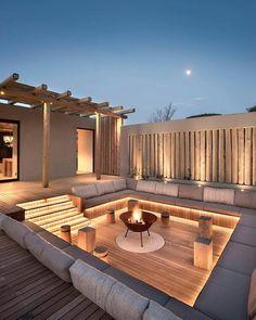 Rooftop Design, Roof Terrace Design, Outdoor Fireplace Designs, Backyard Patio Designs, Small Backyard Patio, Hot Tub Backyard, Sunken Patio, Terraced Backyard, Hot Tub Gazebo