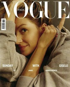 "Piergiorgio Del Moro cast Gisele Bündchen for Vogue Italy's February 2018 cover story, ""Sunday With Gisele!"" Photographs by Jamie Hawkesworth. Vogue Japan, Vogue Uk, Vogue Paris, Vogue India, Vogue Russia, Vogue Covers, Vogue Magazine Covers, Fashion Magazine Cover, Fashion Cover"