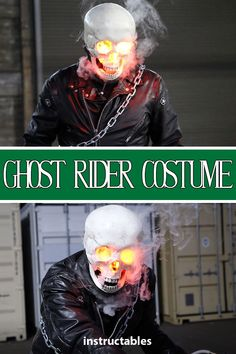 Make your costume epic with LED lighting and a cool smoke effect! Learn how to do both with this Ghost Rider costume made with a 3D printed skull and a vaping e-cig. #Halloween #cosplay #3dprint #Tinkercad #skeleton #mask #movie #marvel #comic #superhero