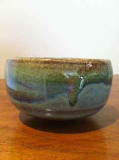 small blue green stoneware bowl by SquirrelAstronaut on Etsy