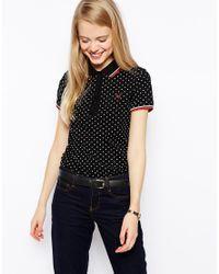 8080ca9b Fred Perry - Black Polka Dot Pique Polo Shirt - Lyst Black Polo Shirt, Polo