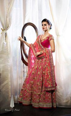 hot pink plain blouse, rani pink heavy lehenga, gold embroidery, pink net dupatta
