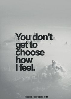 You don't get to choose how I feel | or tell me it's wrong | feeling can't be wrong...should be a song