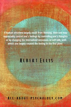 Quote from a classic article by Albert Ellis, which was one of the first published accounts of rational psychotherapy; a theory of personality and a system of therapeutic technique that would eventually develop into what is now known as rational emotive behavior therapy. #AlbertEllis #RationalEmotiveBehaviorTherapy #REBT #psychololgy #psychotherapy Rational Emotive Behavior Therapy, Theories Of Personality, Psychology Student, Self Talk, Human Emotions, Sentences, Theory, Students, Thoughts
