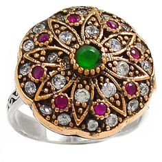 Two Tone - Emerald, Ruby & Cz 925 Silver Ring Jewelry s.8 RR1027 | eBay
