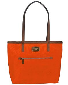 Michael Kors Montauk Nylon MD Tote Bag Handbag Purse Clementine * Click image for more details.