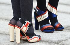 Gorgeous broad strap sandals in white, blue and red/orange with a high wide heel.