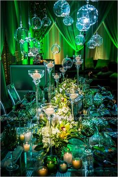 Hanging bubble candles, peacock decor, amazing colors and lighting all at The Royal Park's Ballroom Bliss 2013