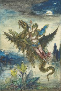 This painting was made by Gustave Moreau.l He made this art pice between It is called Dream of the Orient or The Peri. I love this picture because of its high detail and also I love to see mystical creatures in pieces of art, like a dragon. Art Prints, Art Painting, Spiritual Art, Drawings, Fantasy Art, Painting, Illustration Art, Art, Art Movement