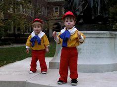 Tweedle Dee and Tweedle Dum costumes, twin costumes, DIY, no sew