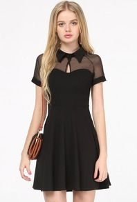 Black Short Sleeve Mesh Peak Collar Skater Dress US$21.00