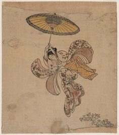 Suzuki Harunobu (1725–1770), Young Woman Jumping from the Kiyomizu Temple Balcony with an Umbrella as a Parachute, 1765