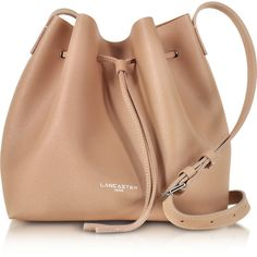 Lancaster Paris Designer Handbags Pur & Element Saffiano Calf-Leather... ($258) ❤ liked on Polyvore featuring bags, handbags, shoulder bags, nude, drawstring bucket bags, bucket bags, hand bags, purse pouch and purse shoulder bag