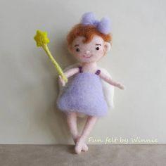 Needle felted purple fairy handmade OOAK doll