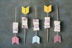 Tribal inspired marshmallow arrows Photography: www.annelimarinovich.com