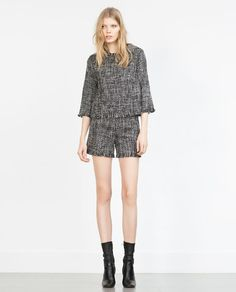 Image 1 of FRAYED TWEED TOP from Zara