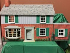 Vintage Tin Litho MARX 2 Story Colonial DollHouse Metal Canopy & Furniture Piece #Marx