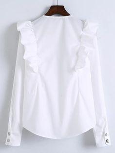 Shop White V Neck Ruffle Trim Buttoned Cuff Blouse online. SheIn offers White V Neck Ruffle Trim Buttoned Cuff Blouse & more to fit your fashionable needs. Collar Blouse, Blouse Dress, Ruffle Collar, Ruffle Blouse, Bolero, White V Necks, Two Piece Outfit, White Shirts, Ruffle Trim