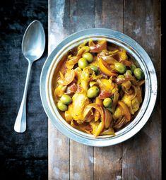 Tajine de poulet, olives vertes et citron confit