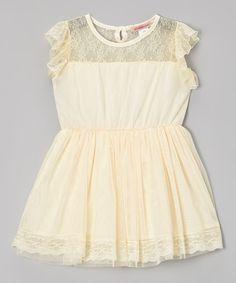 Loving this Paulinie Ivory Lace Angel-Sleeve Dress - Toddler & Girls on #zulily! #zulilyfinds