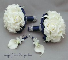 Navy Wedding Flower Package Bridesmaid Bouquets Groomsman Boutonnieres Silk Stephanotis Real Touch Roses Real Touch Calla Lilies – My Wedding Dream Navy Wedding Flowers, Wedding Flower Packages, Bridesmaid Flowers, Wedding Colors, Wedding Bouquets, Flower Bouquets, Bridesmaids, White Bouquets, Wedding Navy